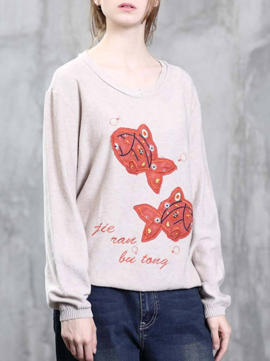 Solid Color Fish Embroidery Round Neck Letter Long Sleeve Knitwear