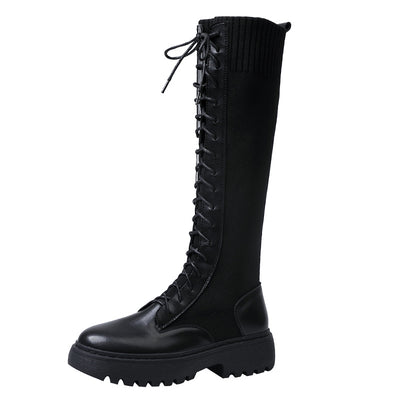 2019 winter new long tube Martin boots thick bottom British wind female thin boots