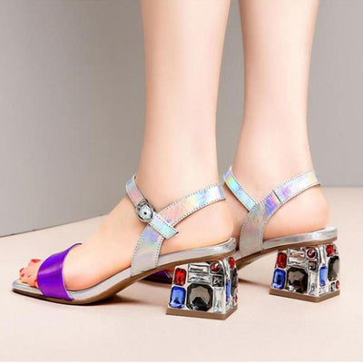 Fashion Color Block Lace-Up Rhinestone Leather Sandals