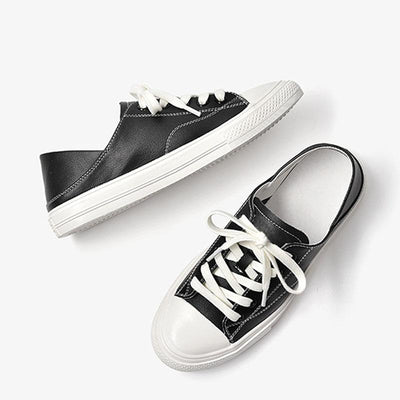 Autumn new single shoes female leather canvas shoes low to help wild white shoes flat shoes fashion sneakers