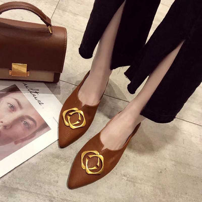 Pointed leather retro literary fan casual shoes