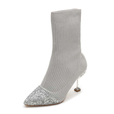 Fashion new sequined pointed stiletto socks