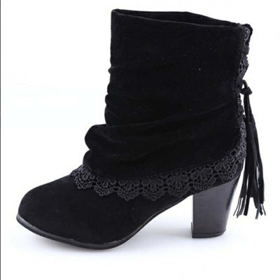 2019 autumn and winter new European and American round head thick heel lace strap fashion high-heel Martin boots