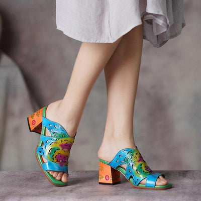 Unique Hollow Printing Chunky Heel Leather Shoes