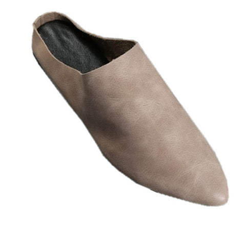 Baotou half drag handmade leather grandma shoes