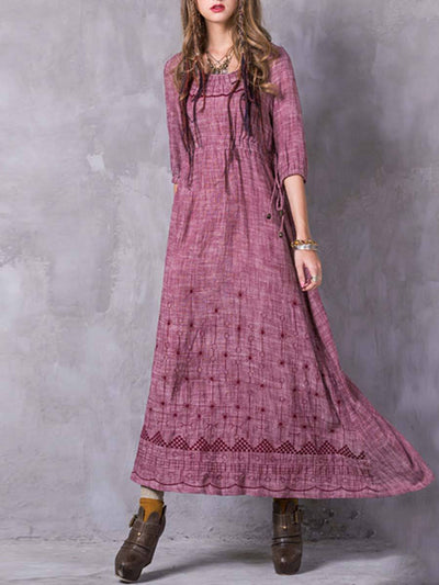 Vintage Half Sleeve Embroidery A-Line Round Neck Linen & Cotton Dresses