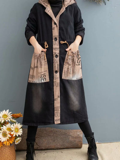 2019 winter sand washed denim coat long hooded thick winter women's cotton clothing