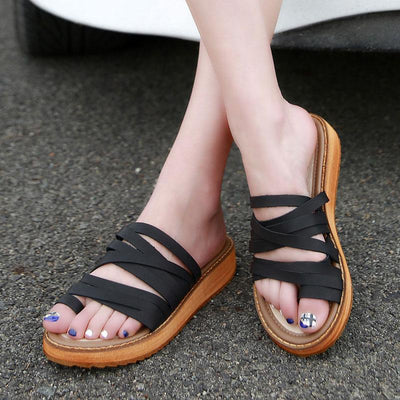 Casual Solid Color Cross Straps Flat Heel Flip Slippers