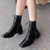 2019 autumn and winter new low-heeled square head locomotive trend women's booties side zipper with Martin boots 02