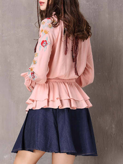 Solid Color Embroidery Lace-Up Ruffle Pleated Long Sleeve Blouses