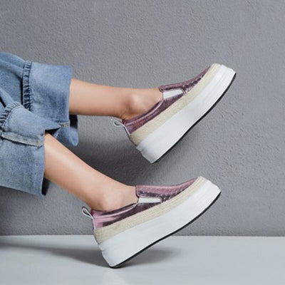 Hollow Solid Color Star Patchwork Leather Round Toe High Heel Sneakers