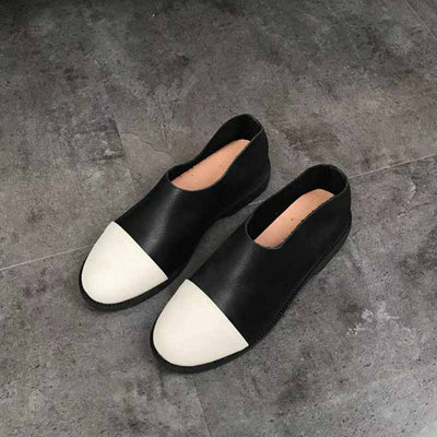 Round head flat with vintage color matching shoes