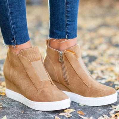 2019 autumn and winter models mixed color European and American style wedge heel inner increased sports and leisure ankle boots