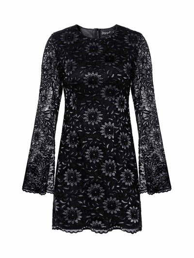 2019 autumn and winter new fashion long-sleeved sexy lace dress