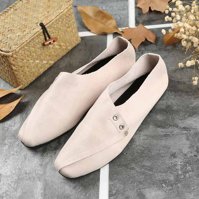 Literary leather grandmother shoes retro square flat shoes