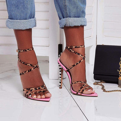 Leopard Belt Cross Buckle Hollow Peep Toe Stiletto Heel Sandals