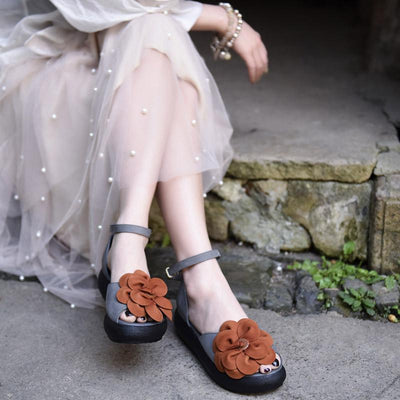 Elegant Flower Buckle Strap Flat Heel Leather Sandals