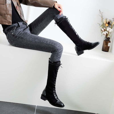 2019 autumn and winter new net red thick heel straps Rome high tube long thin skinny boots Knight boots