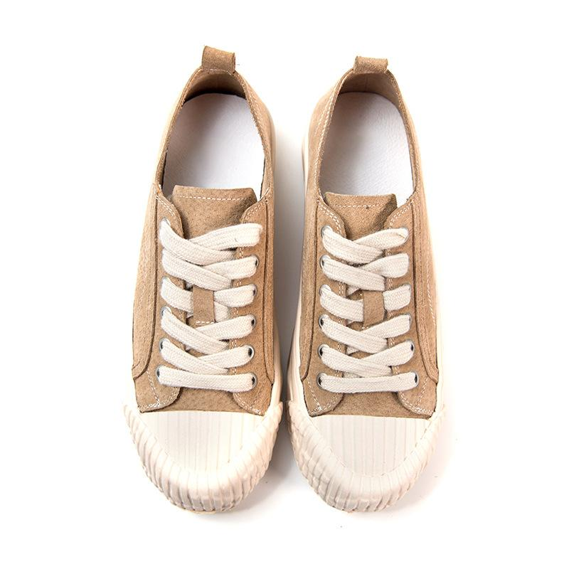 2020 new round toe leather flat shoes fashion wild shell head women's shoes increase casual shoes