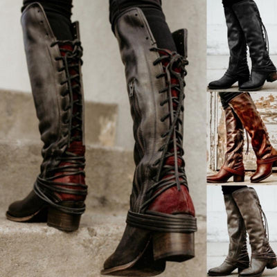 2019 fashion retro thick with high boots tassel straps women's boots
