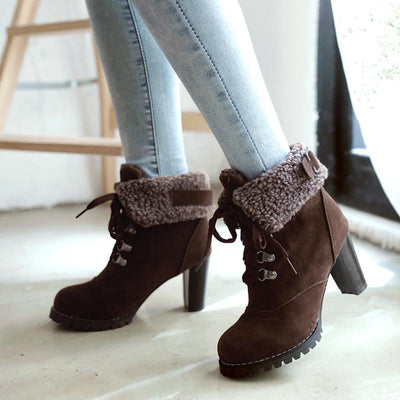 Trendy women's British style round head lace-up thick heel boots furry fleece high-heeled cotton boots