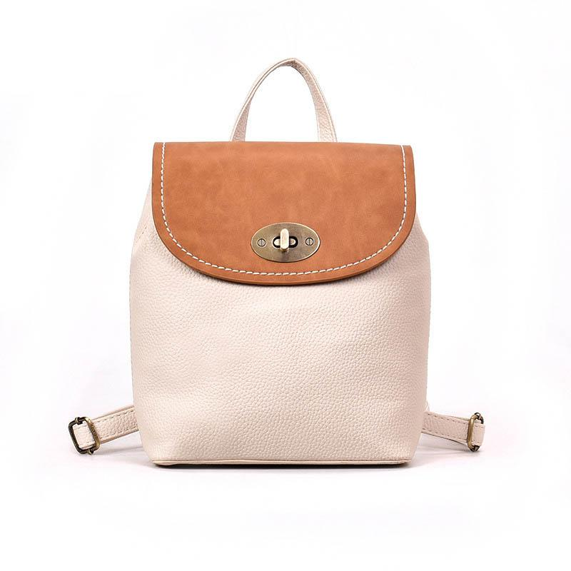 2020 New Contrast PU Leather Casual Fashion Women's Backpack