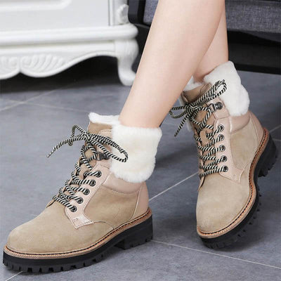2019 new British wind women's shoes winter short tube warm plus velvet snow boots-2