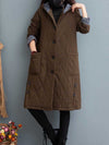 Winter cotton and linen solid color hooded cotton plus long ladies winter coat