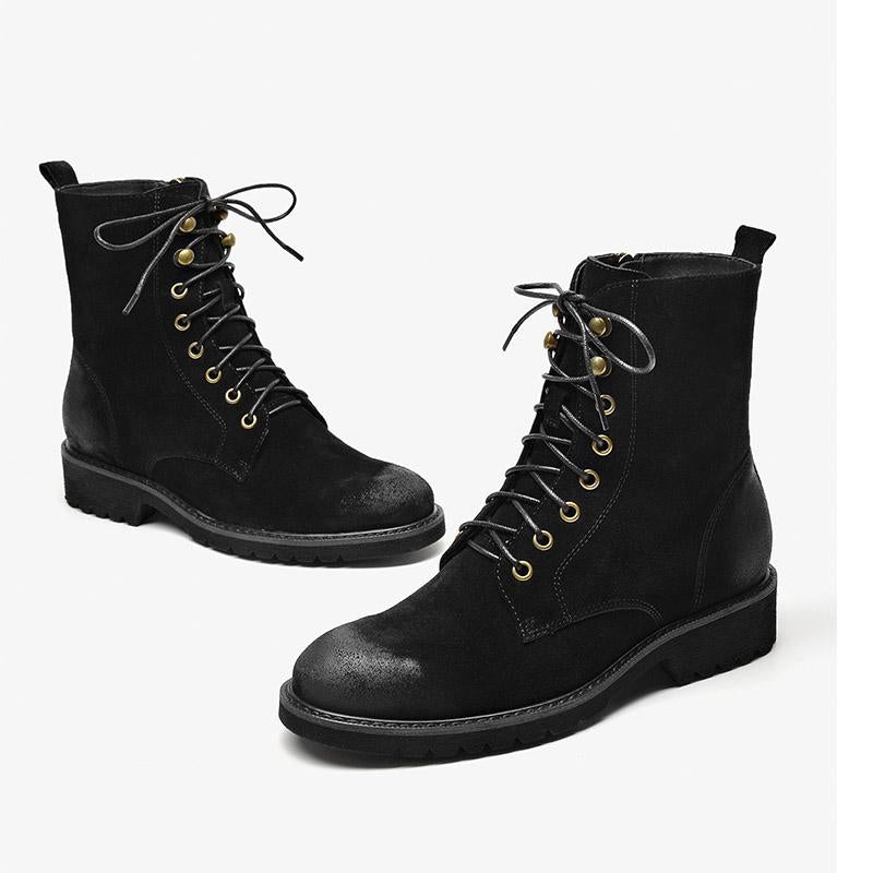 Autumn and winter new suede retro Martin boots women's thick heel lace-up boots