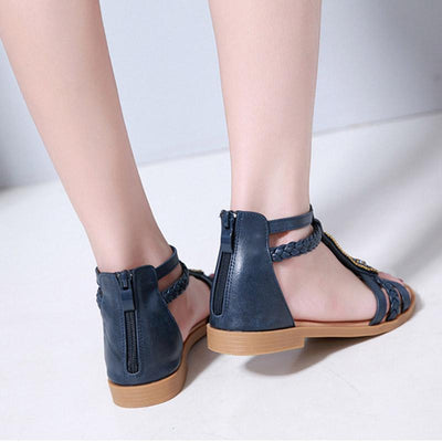 Bohemian Style Beads Back Zipper Flat Heel Sandals