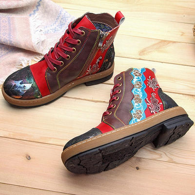 Fashion Lace-Up High-Upper Leather Low Heel Boots