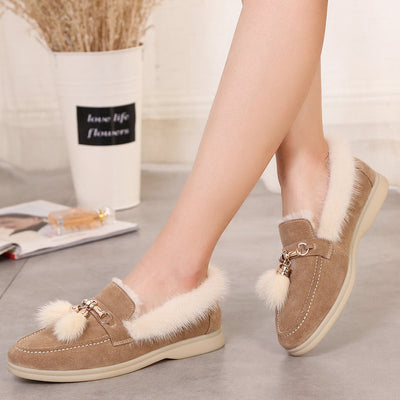 2019 new winter flat bottom wild leather fur one warm snow boots