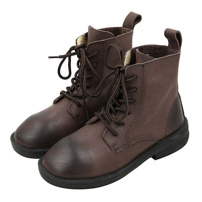 Vintage hand waxed leather Martin boots women's flat heel wild ankle boots color comfortable round head boots