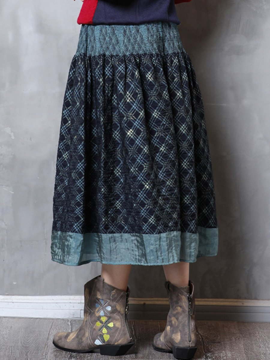 Vintage A-Line Pleated Plaid Patchwork High-Waist Big Hem Skirts