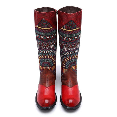 Knee-High Embroidery Color Block Leather Boots