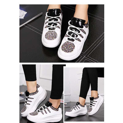 Lace-up mesh slope with sponge cake sports rocking shoes