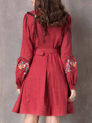 Embroidery Patchwork Belt Buttons Stand Collar Long Sleeve Day Dresses