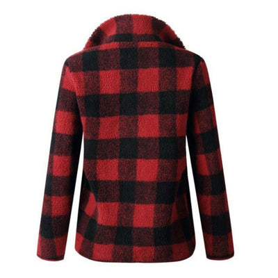 2019 autumn and winter hot sale European and American fashion lamb fur plaid long sleeve sweater
