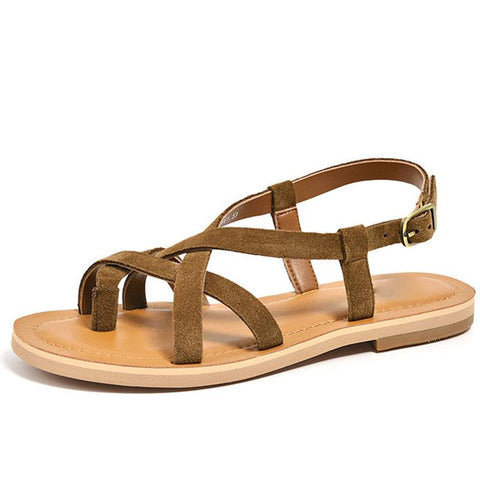 Vocation Hollow Cross Thong Buckle Flat Heel Soft Thong Sandals