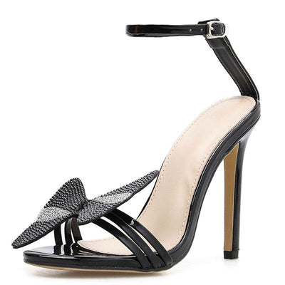 Bowknot Fashion Rhinestones Hollow Open Toe Stiletto Heel Sandals