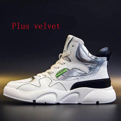 2019 winter new casual wild high-top plus velvet sneakers