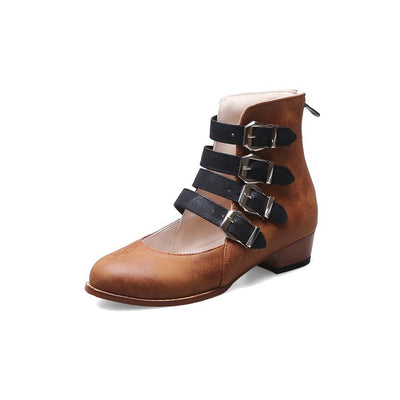 Casual color matching thick heel 4 rows of buckle back zipper low boots women