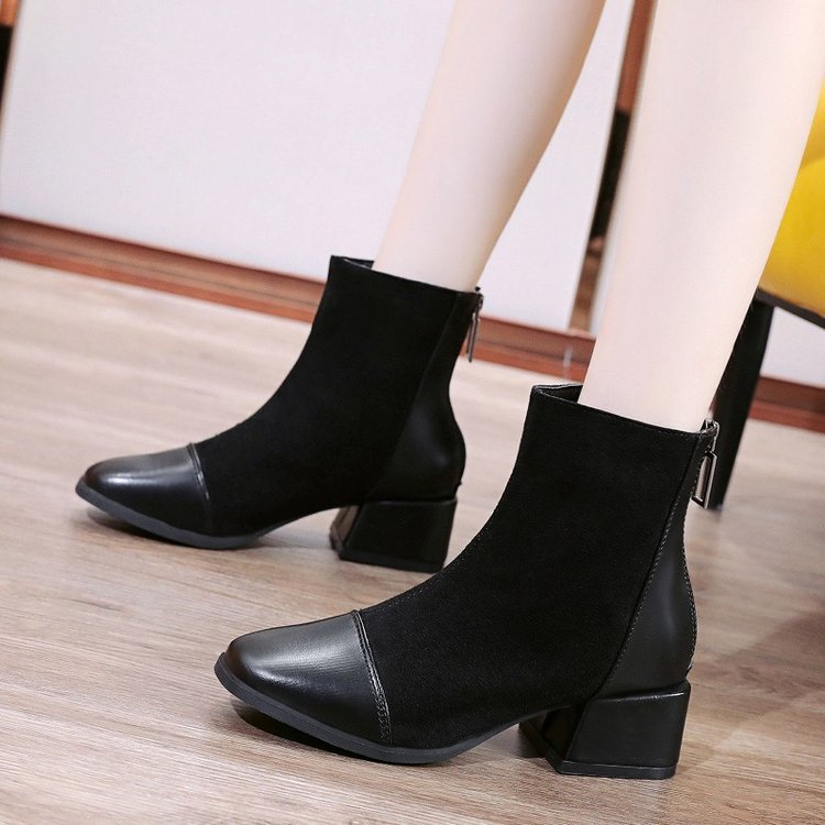 Martin boots women's autumn and winter new Korean style stitching square heel fashion short boots fashionable thin boots