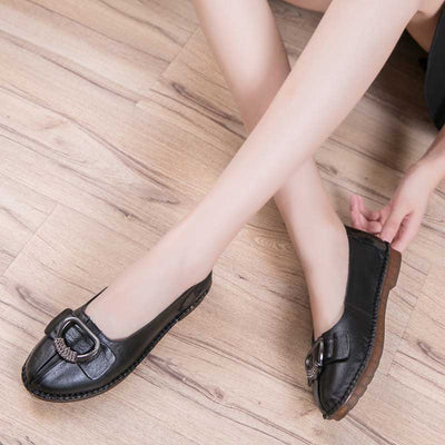 Beef tendon solid color skid loafers