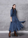 2020 spring new print irregular long vintage embroidered mid-sleeve denim dress