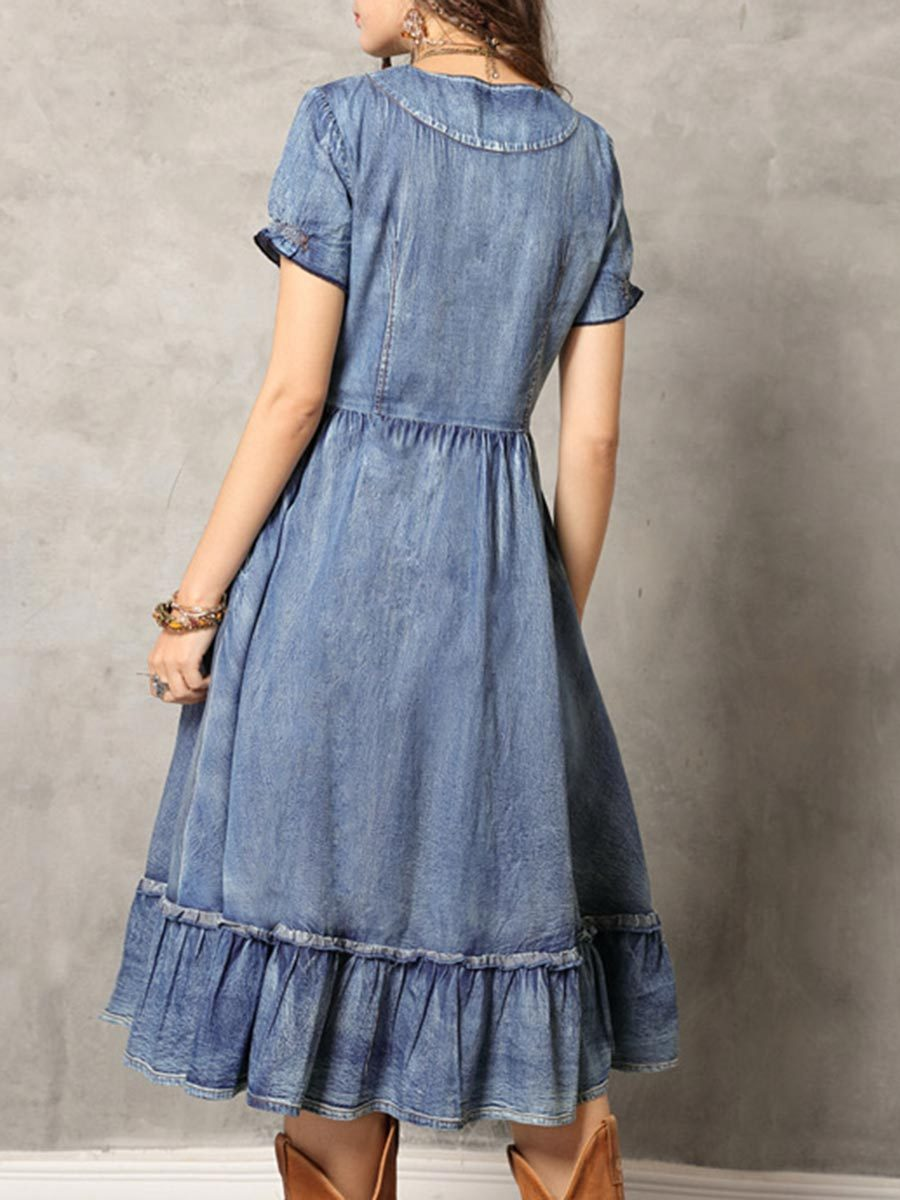 Embroidery Tassel Patchwork Short Sleeve Round Neck Denim Dresses
