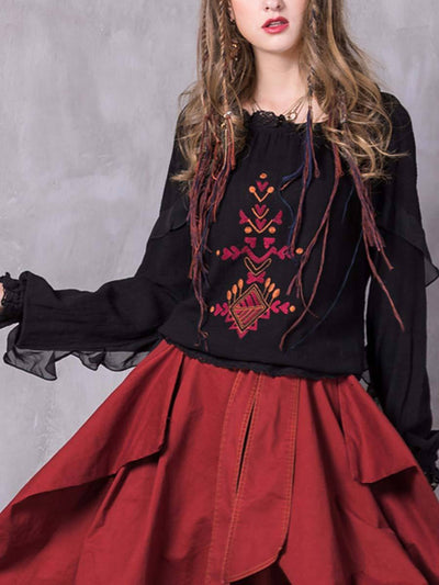 Embroidery Lace Ruffle Pleated Round Neck Long Sleeve Cotton Blouses