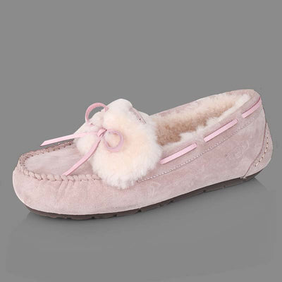 Winter new plus velvet bean shoes female fur-and-leather flat cotton shoes
