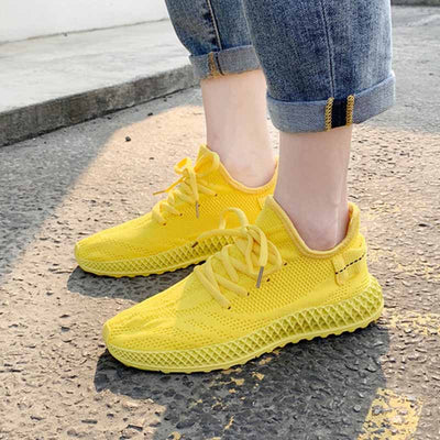 2019 summer new flat bottom breathable flying woven ladies sneakers