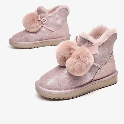 Warm snow boots female 2019 new winter new leather thick with wool plus velvet short boots Chelsea boots children